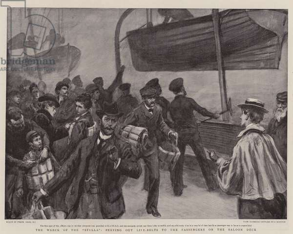 """The Wreck of the """"Stella"""", serving out Life-Belts to the Passengers on the Saloon Deck (litho)"""