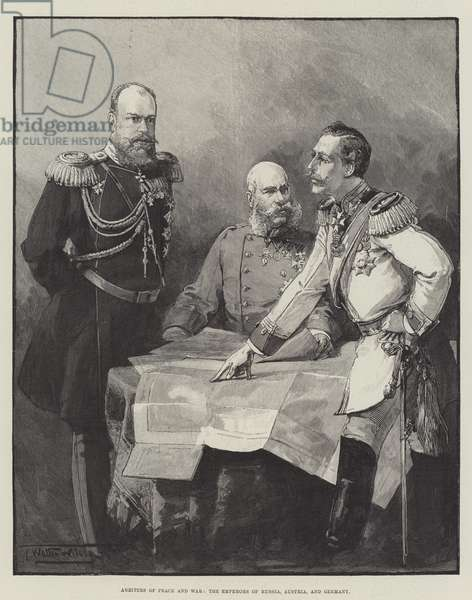 Arbiters of Peace and War, the Emperors of Russia, Austria, and Germany (engraving)