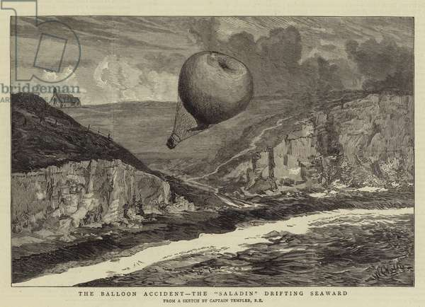 "The Balloon Accident, the ""Saladin"" drifting Seaward (engraving)"