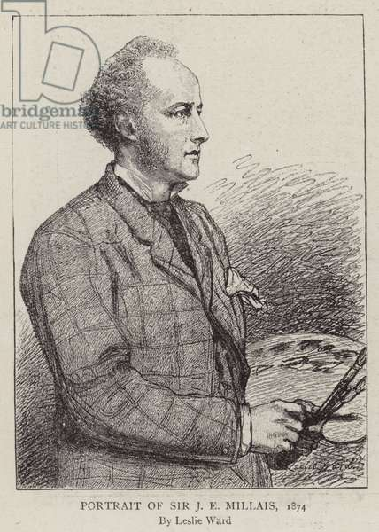 Portrait of Sir J E Millais, 1874 (engraving)