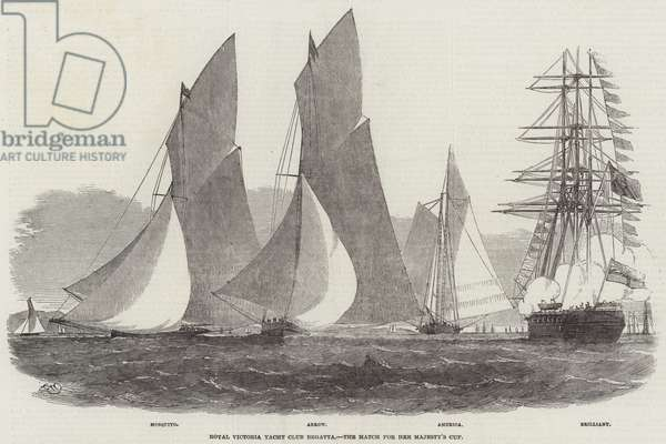 Royal Victoria Yacht Club Regatta, the Match for Her Majesty's Cup (engraving)
