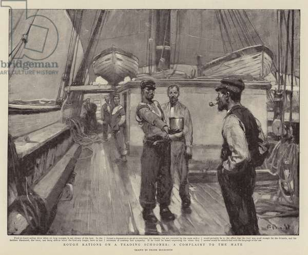 Rough Rations on a Trading Schooner, a Complaint to the Mate (litho)
