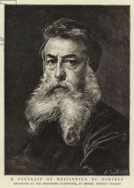 A Portrait of Meissonier by himself (engraving)