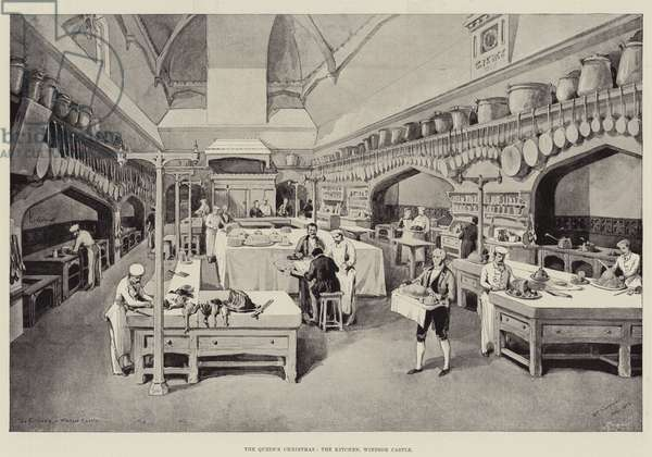 The Queen's Christmas, the Kitchen, Windsor Castle (litho)