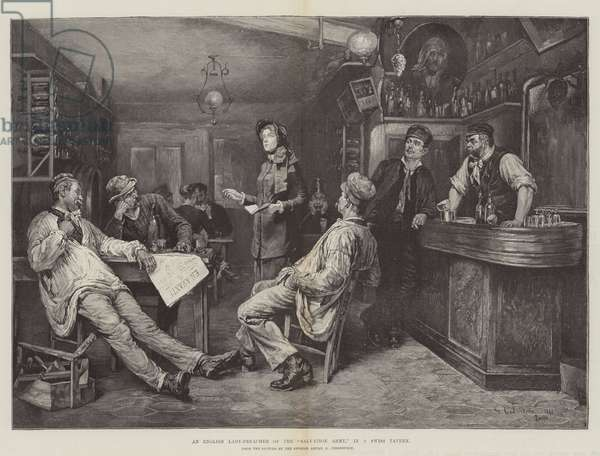 """An English Lady-Preacher of the """"Salvation Army,"""" in a Swiss Tavern (engraving)"""