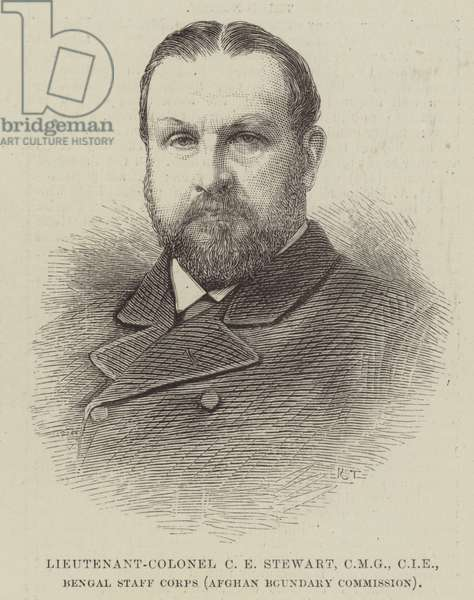 Lieutenant-Colonel C E Stewart, CMG, CIE, Bengal Staff Corps (Afghan Boundary Commission) (engraving)