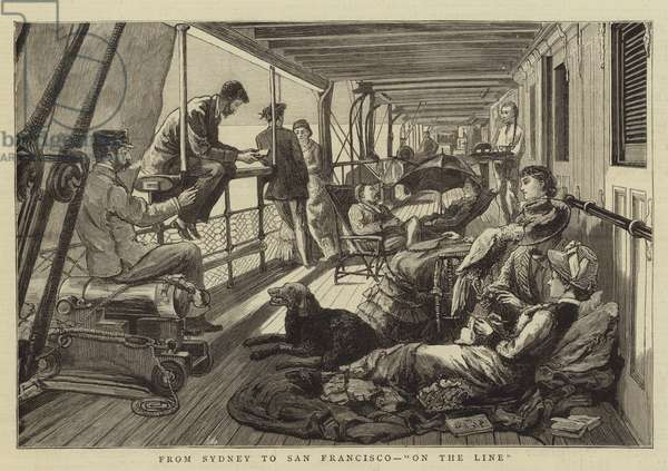 """From Sydney to San Francisco, """"On the Line"""" (engraving)"""