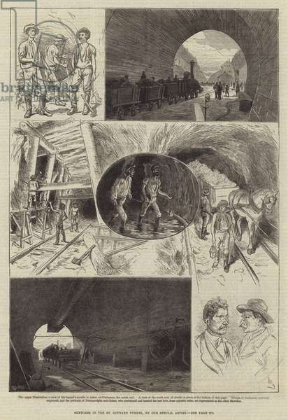 Sketches in the St Gothard Tunnel (engraving)