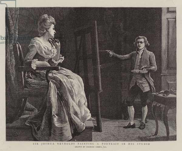 Sir Joshua Reynolds painting a Portrait in his Studio (engraving)
