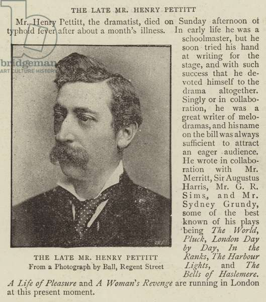 The Late Mr Henry Pettitt (b/w photo)