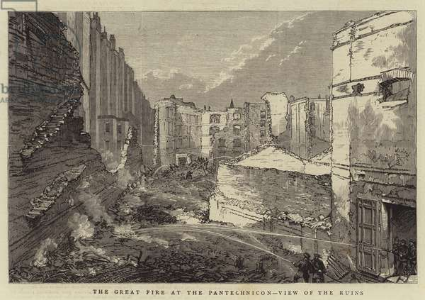 The Great Fire at Pantechnicon, View of the Ruins (engraving)