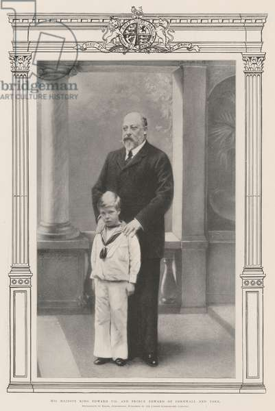 His Majesty King Edward VII and Prince Edward of Cornwall and York (b/w photo)