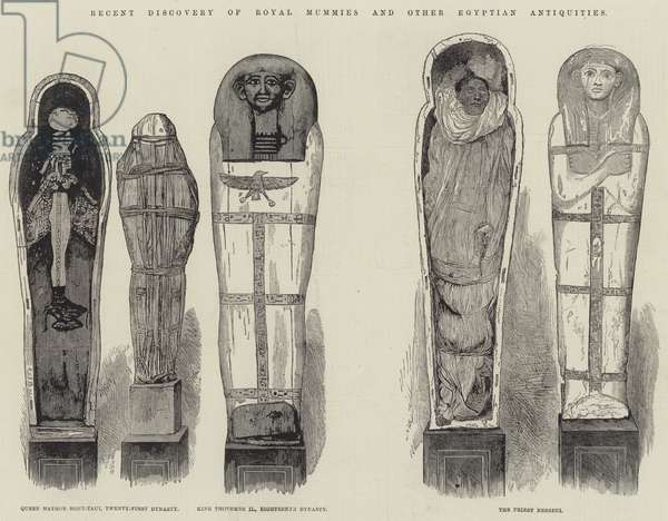 Recent Discovery of Royal Mummies and other Egyptian Antiquities (engraving)