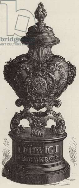 Urn in which King Louis of Bavaria's Heart Lies (engraving)