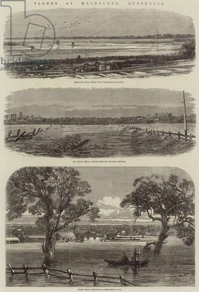Floods at Melbourne, Australia (engraving)