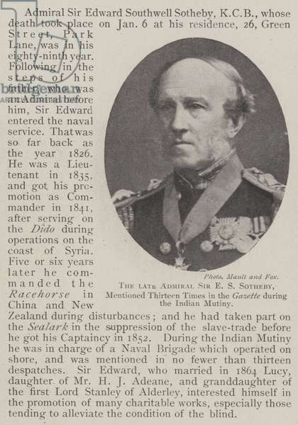 The late Admiral Sir E S Sotheby, mentioned Thirteen Times in the Gazette during the Indian Mutiny (b/w photo)