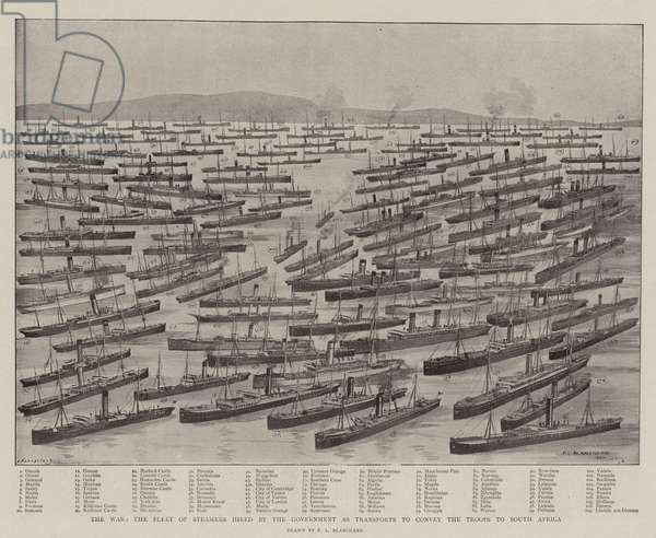 The War, the Fleet of Steamers hired by the Government as Transports to convey the Troops to South Africa (litho)