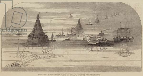 Submarine Railway between France and England, projected by Hector Horeau (engraving)