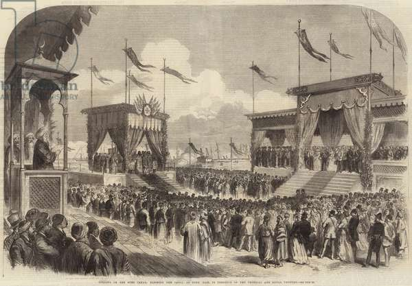 Opening of the Suez Canal, Blessing the Canal at Port Said, in Presence of the Imperial and Royal Visitors (engraving)