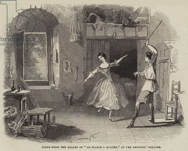 """Scene from the Ballet of """"Le Diable a Quatre,"""" at the Princess' Theatre (engraving)"""
