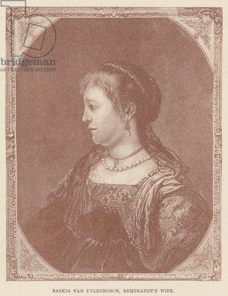 Saskia van Uylenborch, Rembrandt's Wife (engraving)