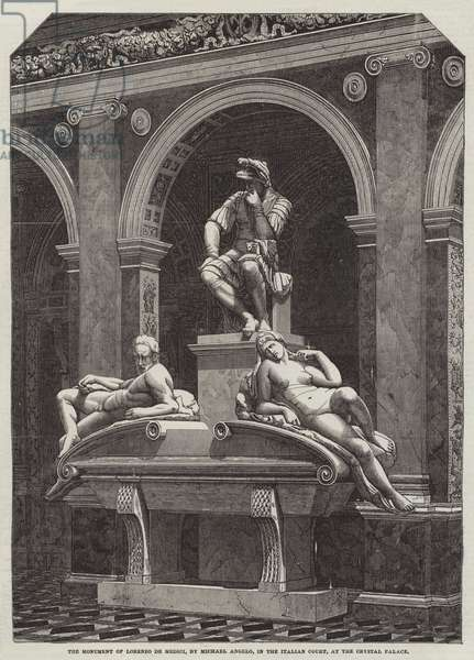 The Monument of Lorenzo de Medici, by Michael Angelo, in the Italian Court, at the Crystal Palace (engraving)