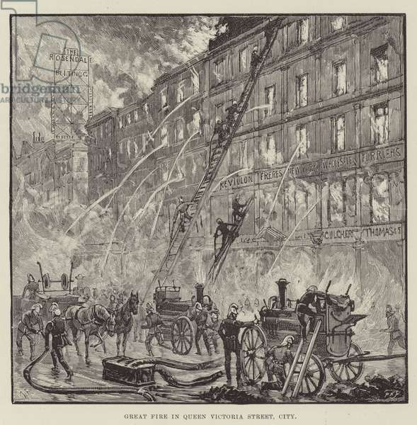 Great Fire in Queen Victoria Street, City (engraving)
