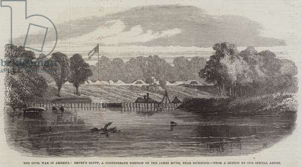 The Civil War in America, Drury's Bluff, a Confederate Position on the James River, near Richmond (engraving)