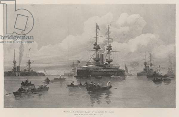 """The Naval Manoeuvres, Fleet """"X"""" assembled at Torbay (litho)"""