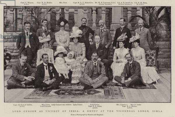 Lord Curzon as Viceroy of India, a Group at the Viceregal Lodge, Simla (b/w photo)