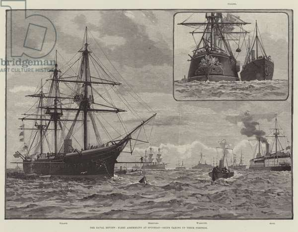The Naval Review, Fleet assembling at Spithead, Ships taking up their Position (engraving)