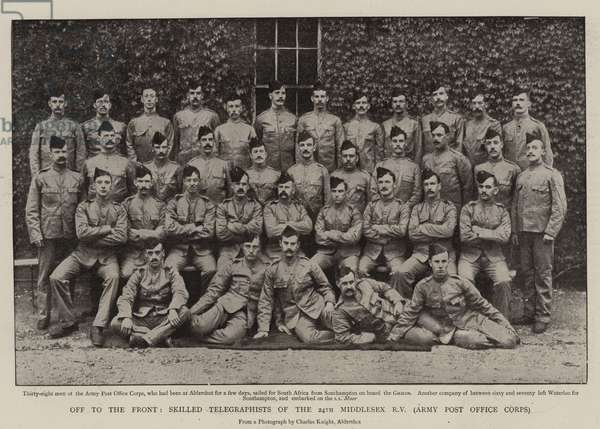 Off to the Front, Skilled Telegraphists of the 24th Middlesex Rifle Volunteers, Army Post Office Corps (b/w photo)