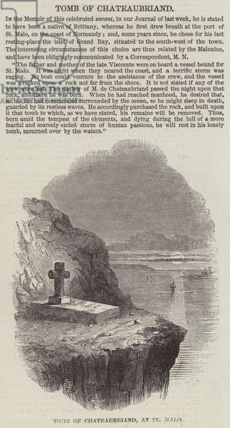 Tomb of Chateaubriand, at St Malo (engraving)