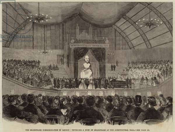 The Shakespeare Commemoration in London, unveiling a Bust of Shakespeare at the Agricultural Hall (engraving)