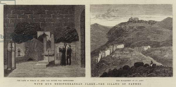 With Our Mediterranean Fleet, the Island of Patmos (engraving)