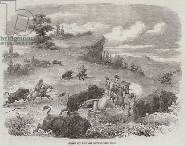 Shooting Buffaloes with Colt's Revolving Pistol (engraving)