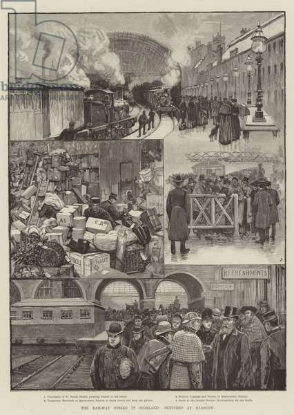 The Railway Strike in Scotland, Sketches at Glasgow (engraving)