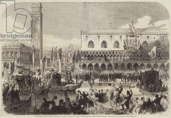 The Visit of King Victor Emmanuel to Venice, landing of His Majesty at the Doge's Palace (engraving)