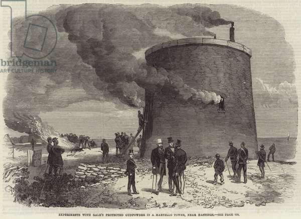 Experiments with Gale's Protected Gunpowder in a Martello Tower, near Hastings (engraving)