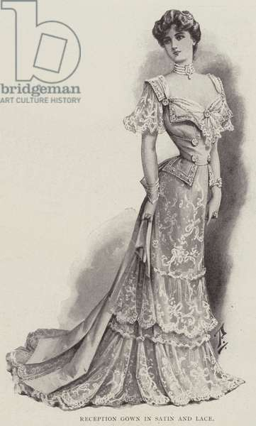 Reception Gown in Satin and Lace (litho)