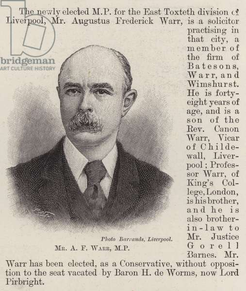 Mr A F Warr, MP (engraving)