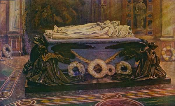 The Tombs of Queen Victoria and the Prince Consort in the Royal Mausoleum at Frogmore (colour litho)