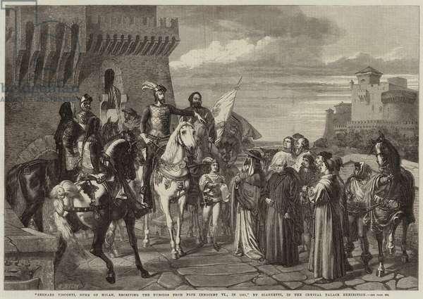 Bernabo Visconti, Duke of Milan, receiving the Nuncios from Pope Innocent VI, in 1361 (engraving)