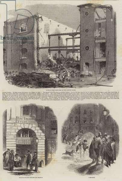 Great Fire in London Docks (engraving)