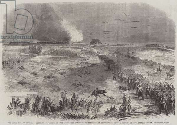 The Civil War in America, Federals advancing on the Abandoned Confederate Positions at Centreville (engraving)
