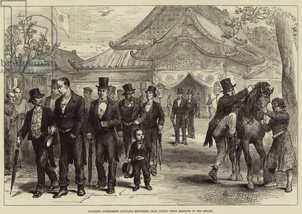 Japanese Government Officials returning from paying their Respects to the Mikado (engraving)