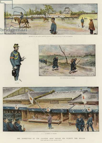 The Manoeuvres of the Japanese Army before His Majesty the Mikado (colour litho)