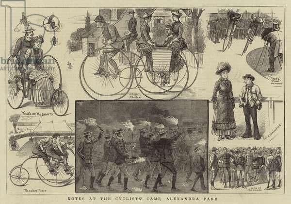 Notes at the Cyclists' Camp, Alexandra Park (engraving)