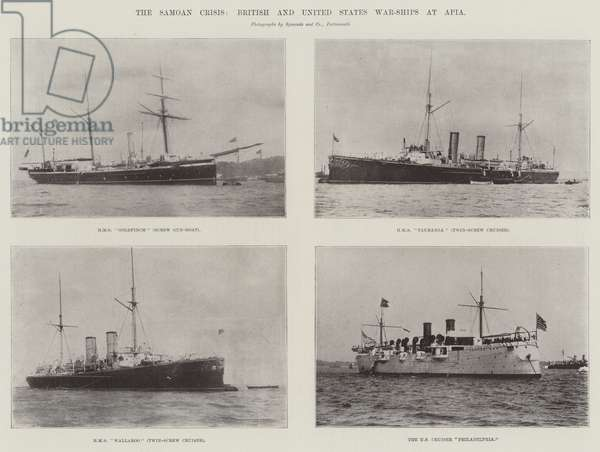 The Samoan Crisis, British and United States War-Ships at Apia (b/w photo)