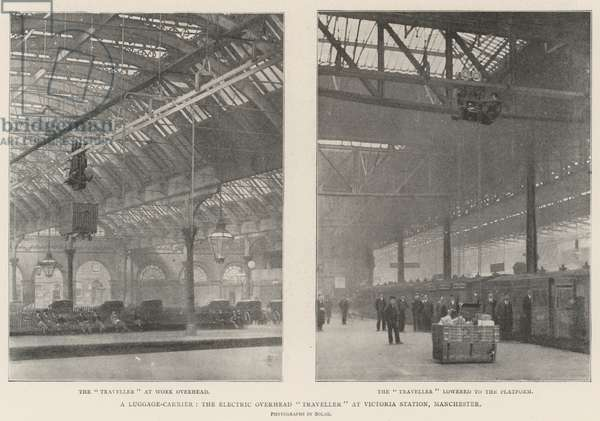 """A Luggage-Carrier, the Electric Overhead """"Traveller"""" at Victoria Station, Manchester (engraving)"""